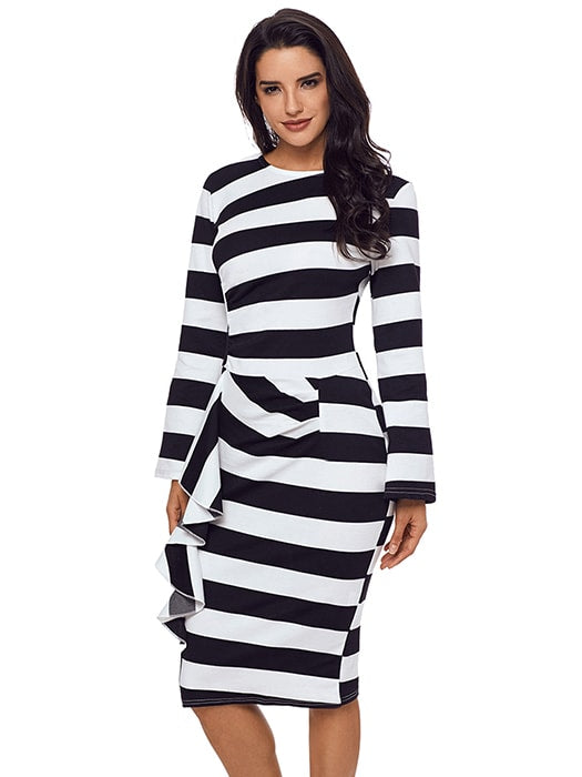 Black Striped Ruffle Side Back Slit Long Sleeve Midi Dress