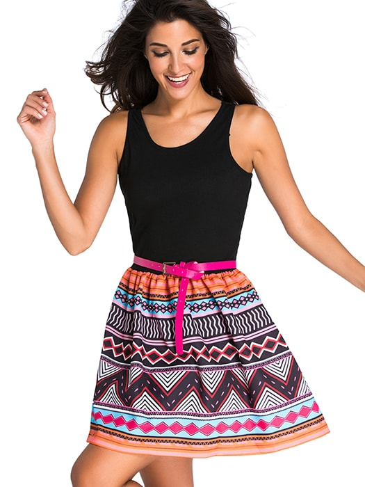 Black Tank Top Tribal Print Skirt Flared Dress