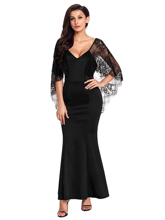 Black V Cut Open Back Lace Cape Sleeve Maxi Evening Dress