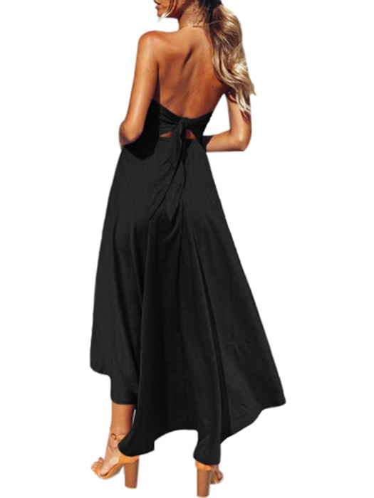 Black V Cut Strapless Party Cocktail Dress