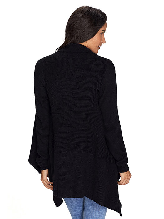 Black Waterfall Long Sleeve Sweater Cardigan
