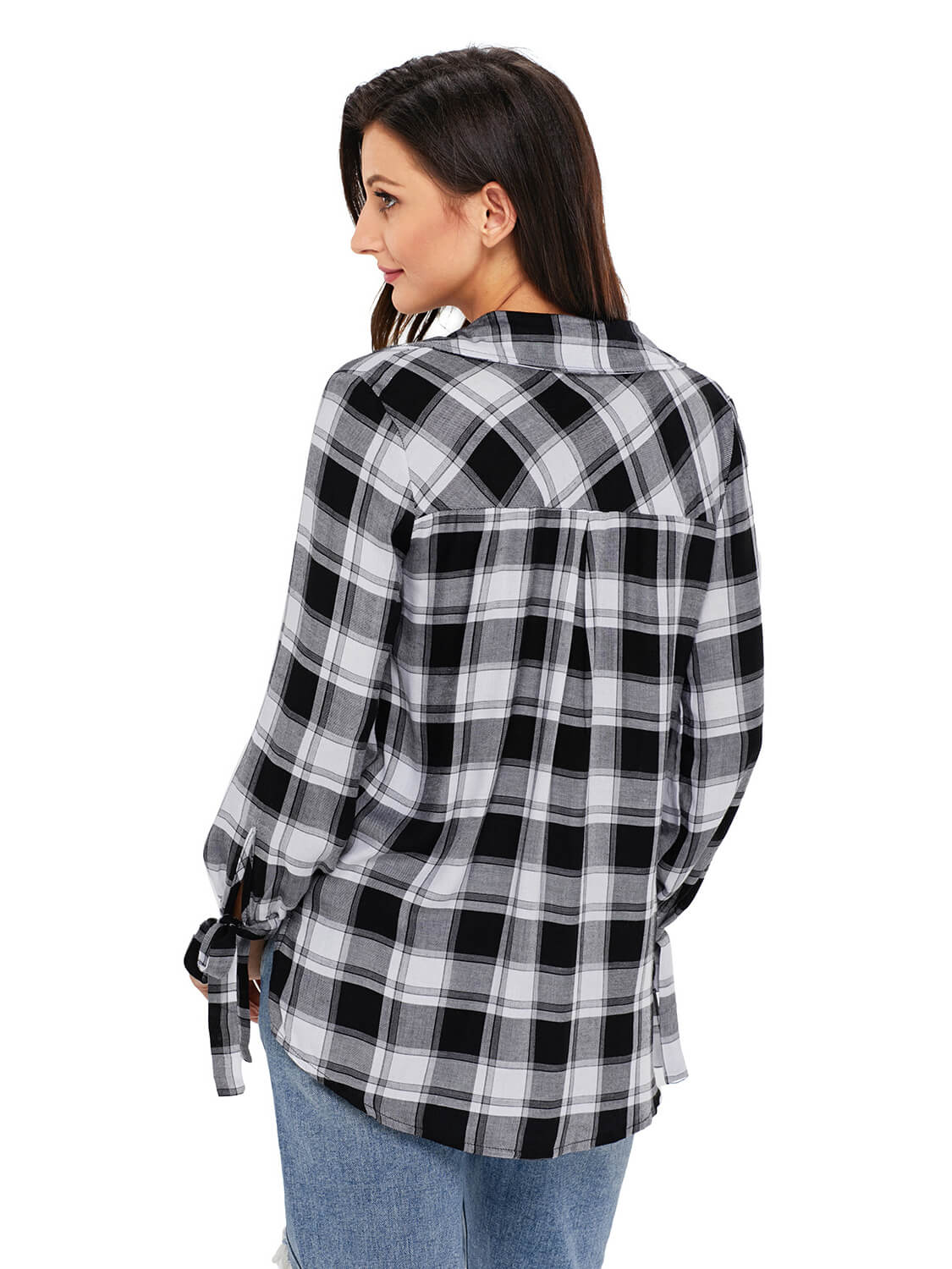 Black White Plaid Drape Top
