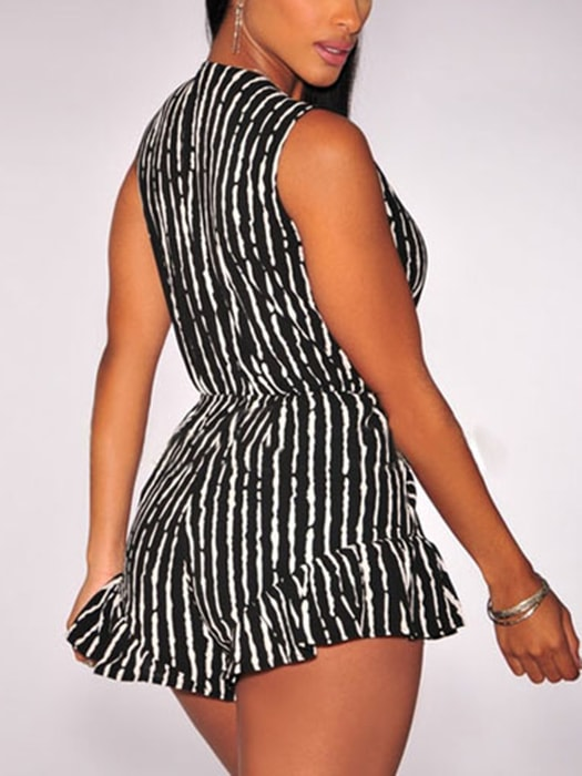 Black White Print Ruffle Tie-Knot Front Romper