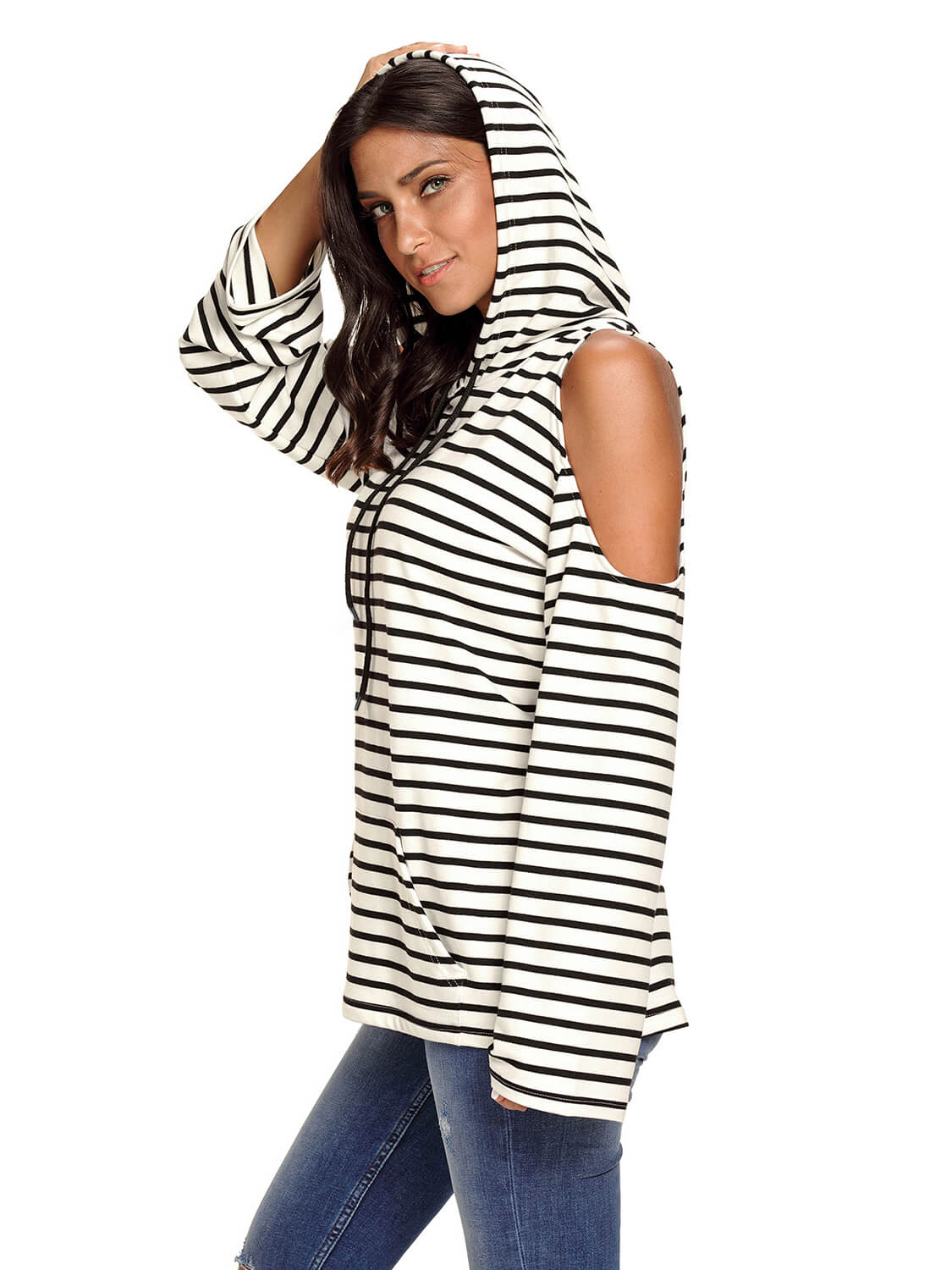 7ecfecc1adc55 Black White Striped Cold Shoulder Long Sleeve Top – WhatsMode