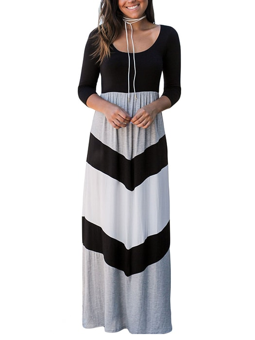 Black and Gray Chevron Maxi Dress