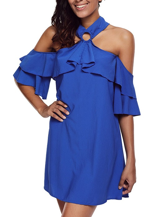 Blue Adorable Sexy O Ring Detail Ruffle Dress