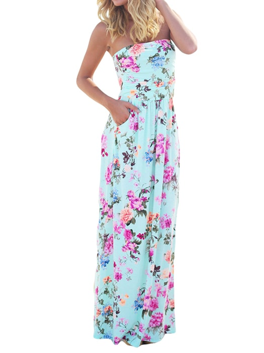Blue Boho Floral Strapless Maxi Dress with Pockets