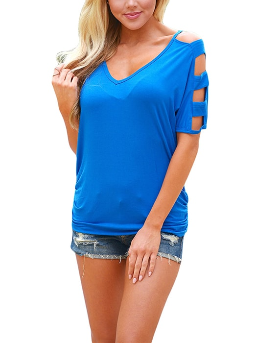 Blue Cold Shoulder Ruched Sides T-shirt