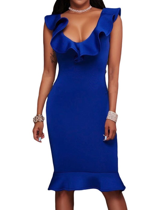 Blue Ruffle Neckline Mermaid Hem Midi Dress
