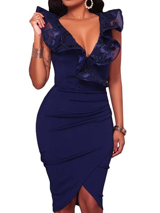 Blue Ruffle V Neck Detail Midi Dress