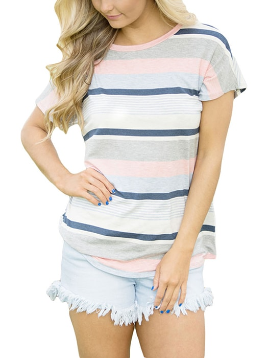 Blue Striped Short Sleeve T-shirt