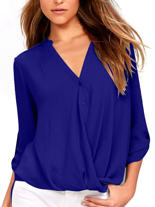 Blue V Neck Knotted Button-up Sleeve Blouse