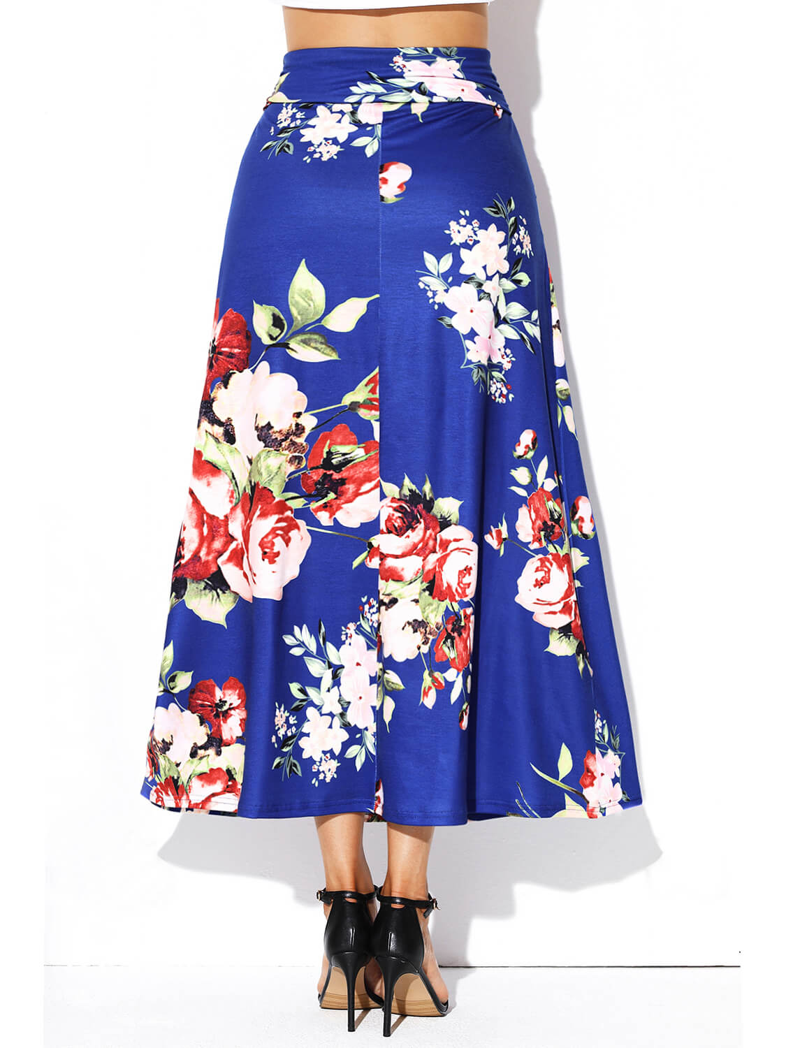 Blue Vibrant Floral Print Long Maxi Skirt