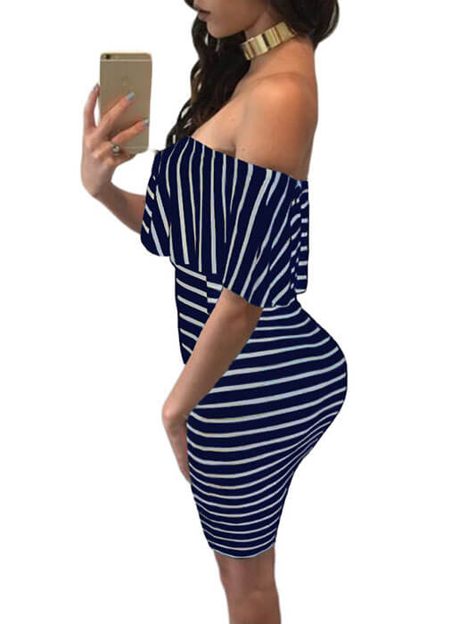 Blue White Striped Off-shoulder Bodycon Dress