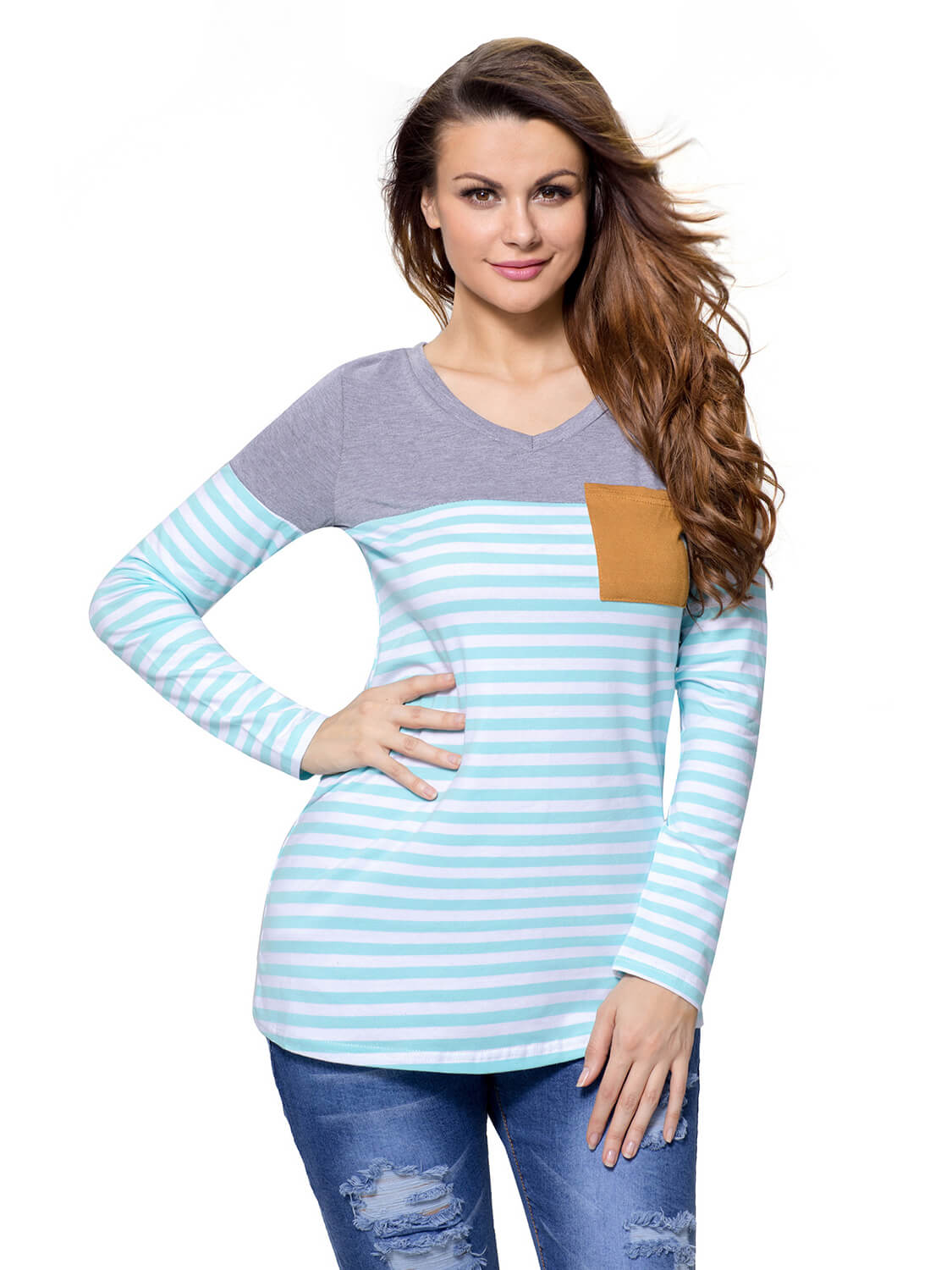 Blue White Stripes Color Block Long Sleeve Blouse Top