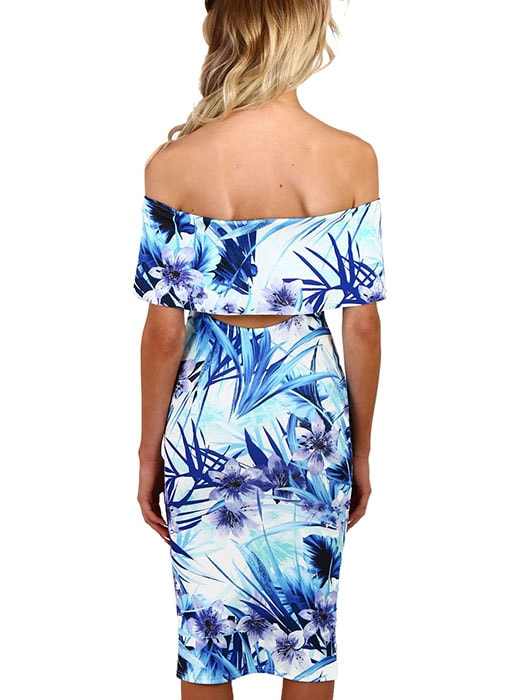 Blue and White Floral Bardot Bodycon Midi Dress