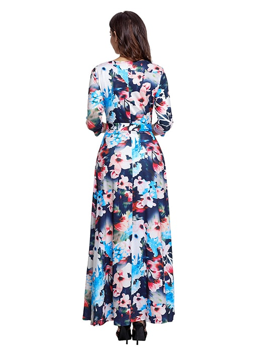 Bluish Floral Print Wrapped Long Boho Dress