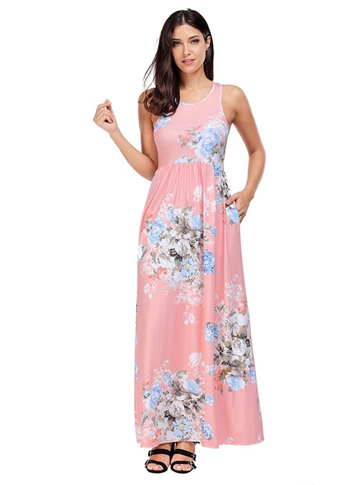 Blush Floral Print Sleeveless Long Boho Dress