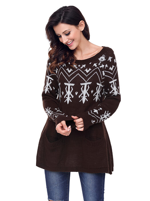 Brown A-line Casual Fit Christmas Fashion Sweater