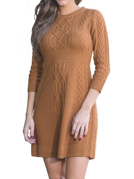 53f44a822e2 Brown Cable Knit Fitted 3 4 Sleeve Sweater Dress – WhatsMode