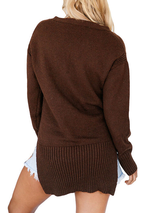 Brown Deep V Neck Crisscross Knit Sweater