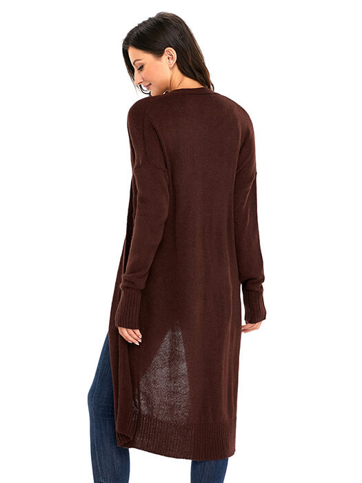 Brown Knit Long Sleeve Open Front Cardigan