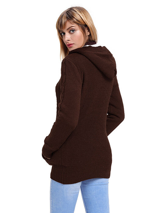 Brown Long Sleeve Button-up Hooded Cardigans