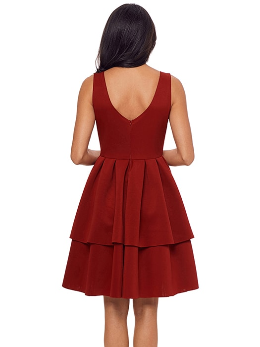 Burgundy A-Line Tiered Short Prom Dress