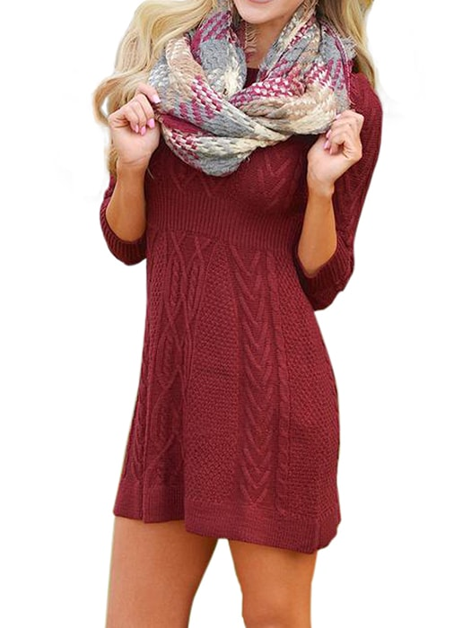 2cad33a36e4 Burgundy Cable Knit Fitted 3 4 Sleeve Sweater Dress – WhatsMode