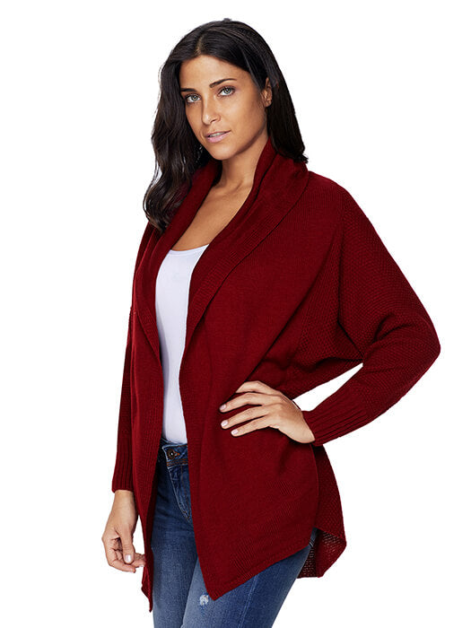 Burgundy Chunky Knit Open Front Dolman Cardigan