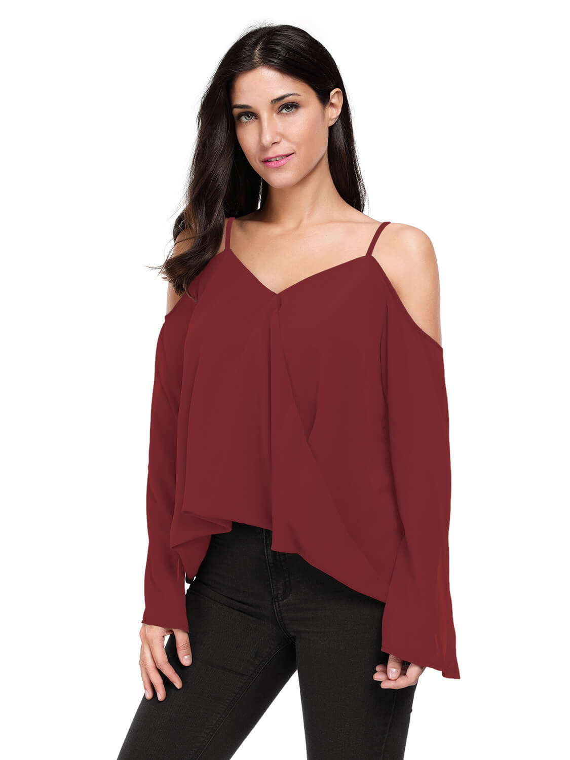 Burgundy Cold Shoulder Overlap V Neck Long Sleeve Top