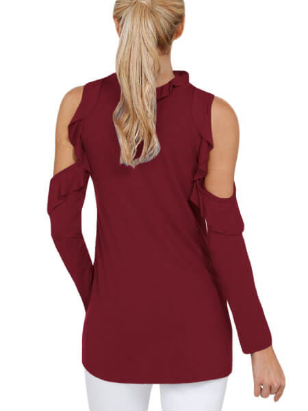 Burgundy-Cold-Shoulder-Ruffle-Top