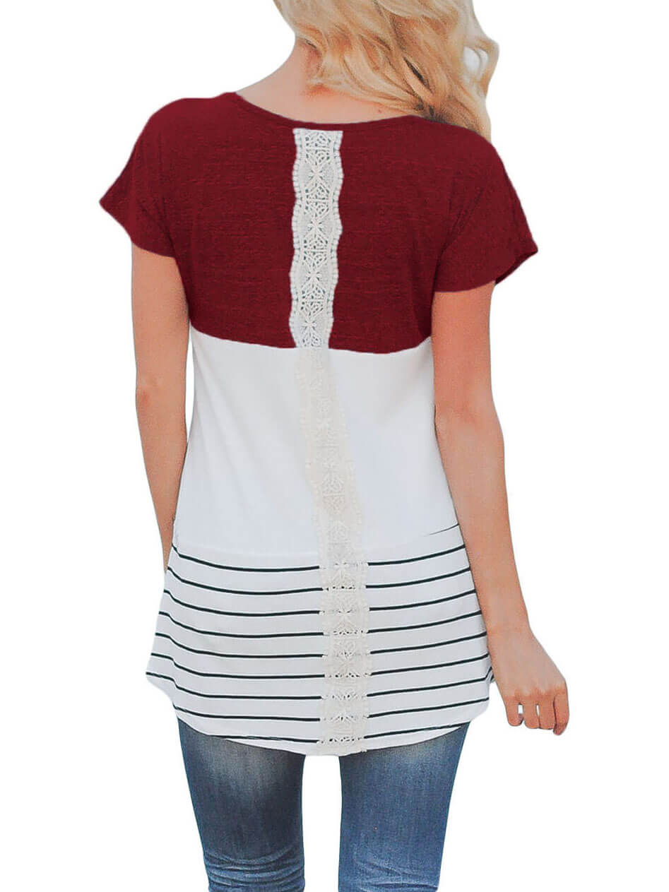 Burgundy-Color-Block-Striped-Long-Top