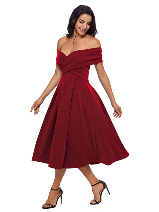 Burgundy Crossed Off Shoulder Fit-and-flare Prom Dress