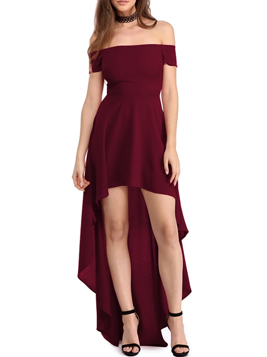 Burgundy High Low Hem Off Shoulder Party Dress