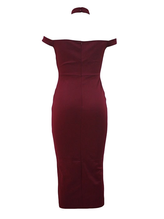 Burgundy Luxurious Long Party Dress with Choker