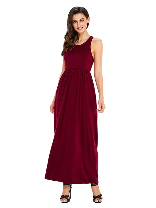 Burgundy Racerback Maxi Dress with Pockets