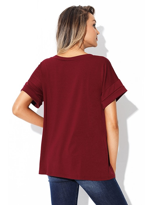 Burgundy Simple Fashion Pocket T-shirt