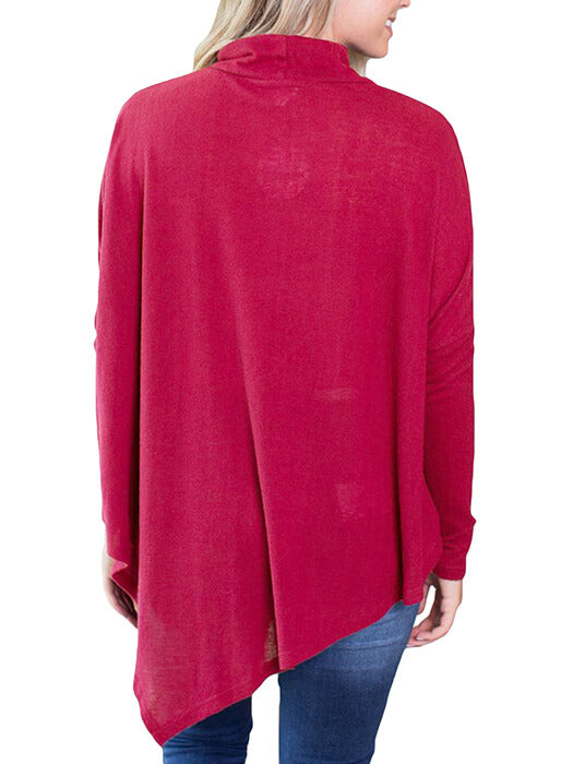 Burgundy Soft Faux Poncho High Neck Sweater