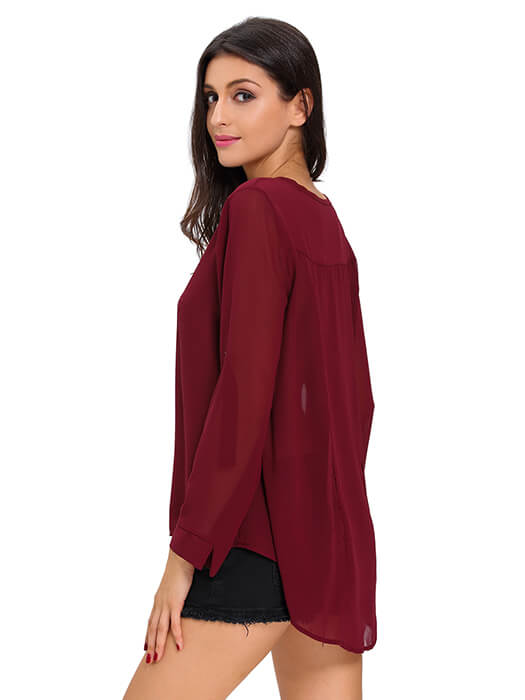 Burgundy V-Neck Button Detail Dip Back Blouse Top