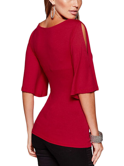 Burgundy V Neck Slit Sleeve Wrap Top