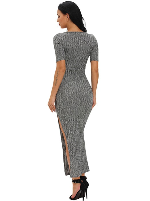 Charcoal Dusty Ribbed Half Sleeve Maxi Dress