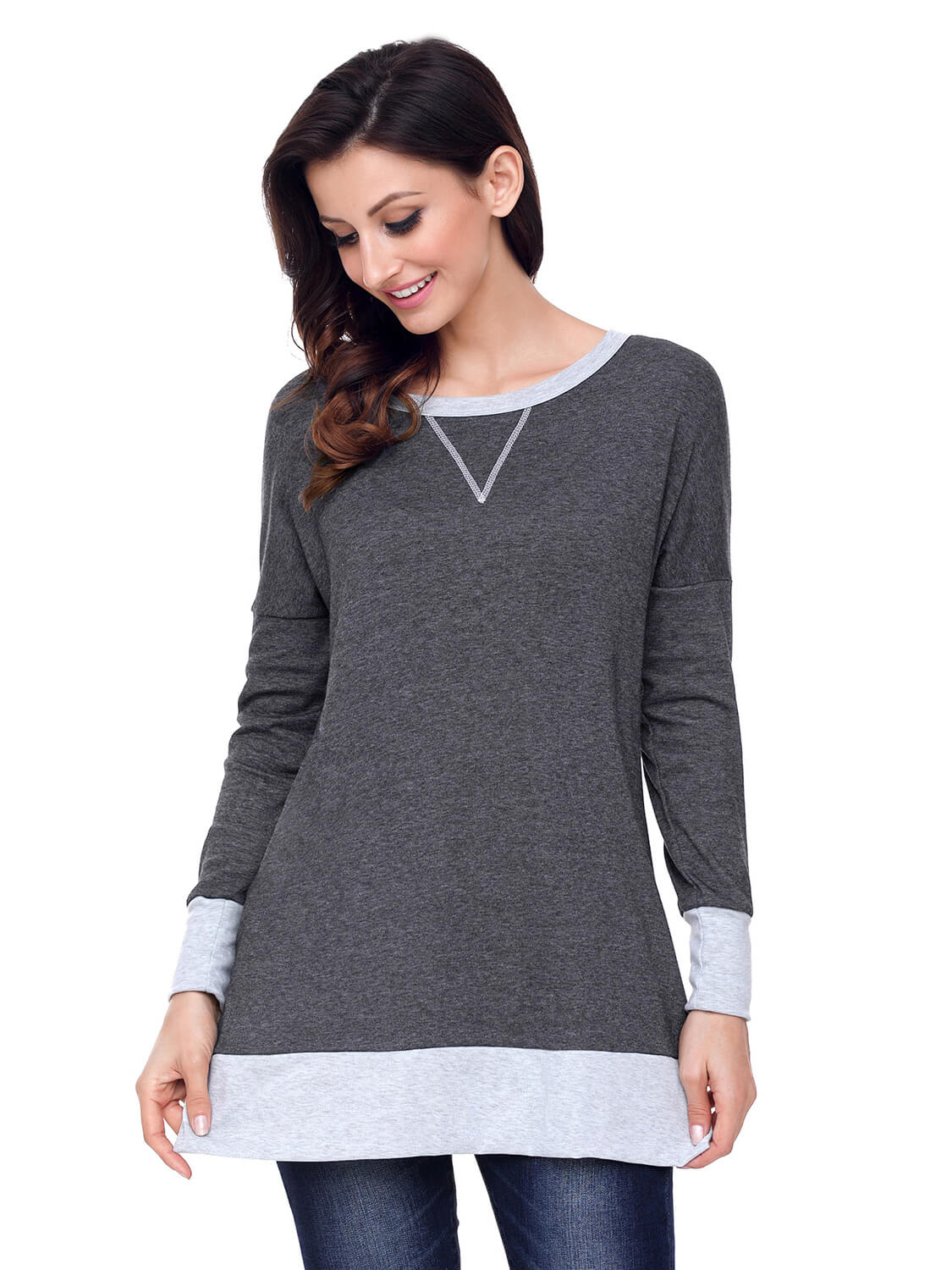 2e391f2955b Charcoal Side Pocket Elbow Patch Colorblock Tunic – WhatsMode