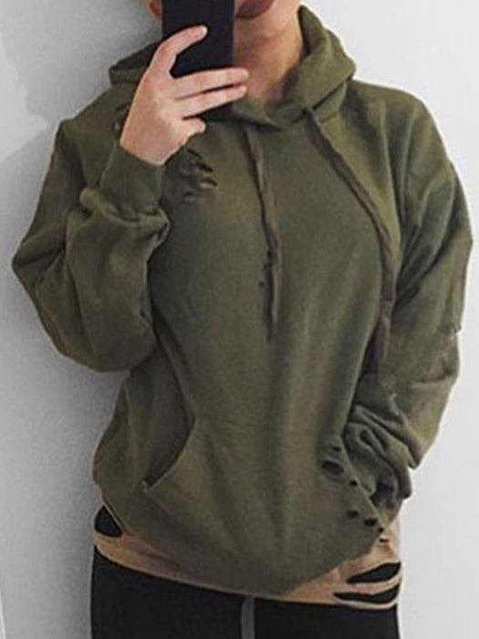 Simple Casual Hollow Chic Olive Green Hoodies