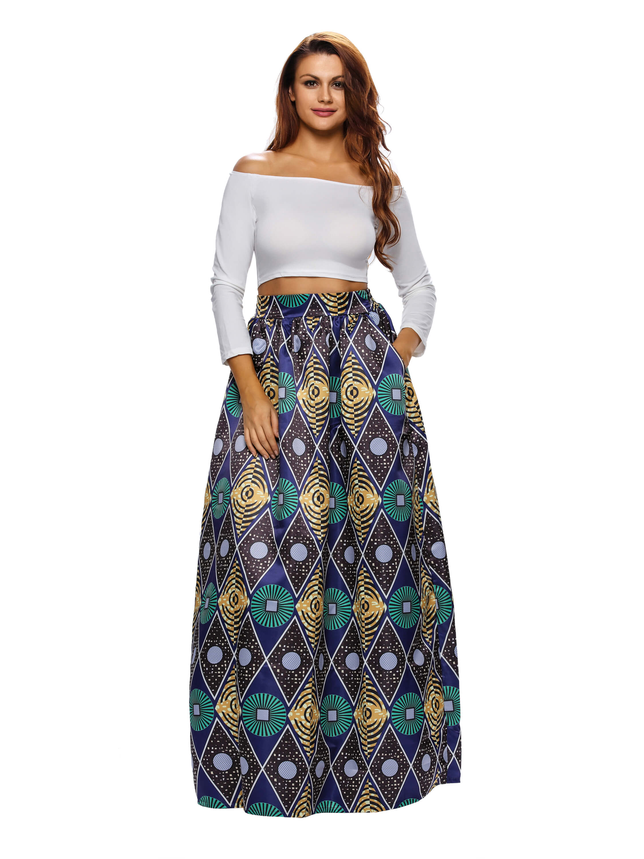 Chic Circle African Print Maxi Skirt