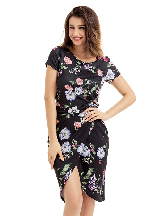 Chic Knot Side Wrapped Black Floral Dress