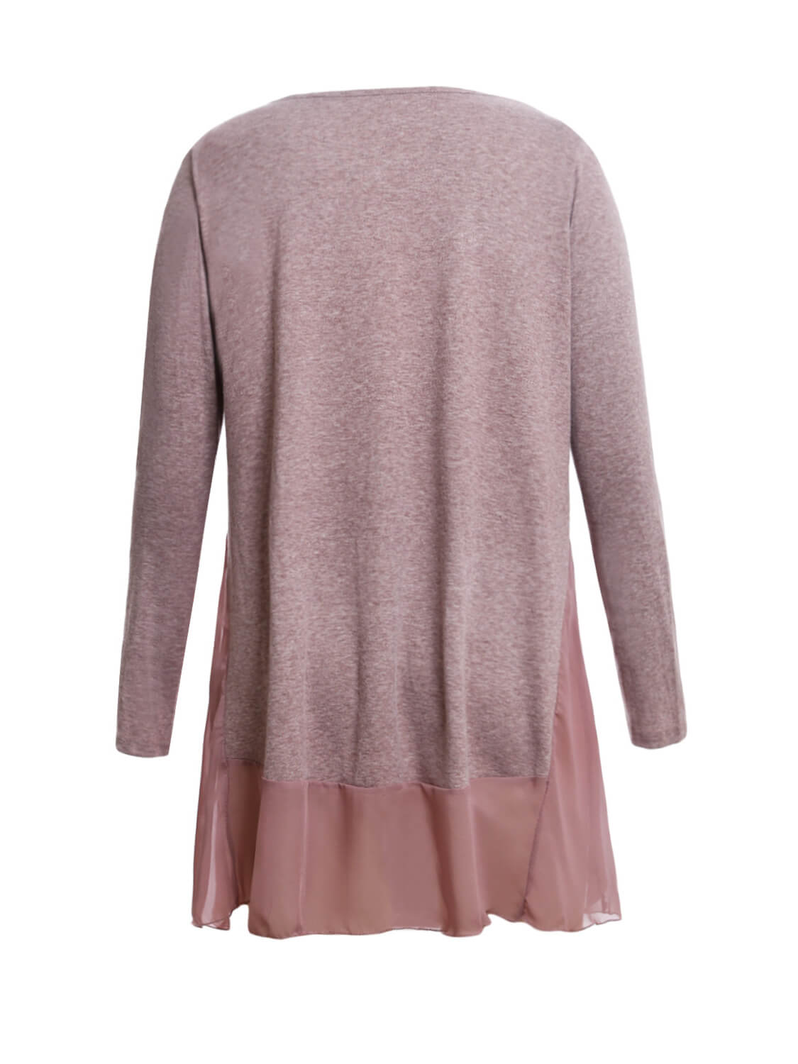 Chiffon Hemline Splice Coffee Long Sleeve Top