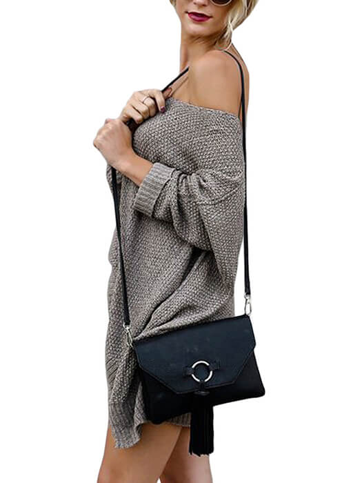 Coffee Oversized Knit High-low Slit Side Sweater