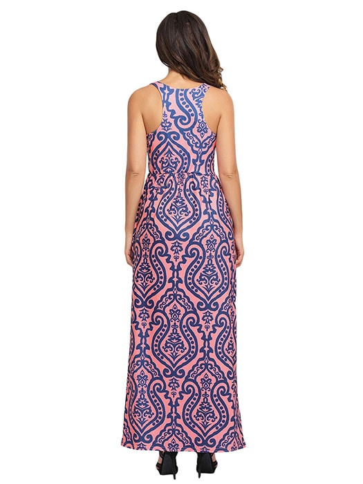 Coral Contrast Damask Print Sleeveless Long Dress