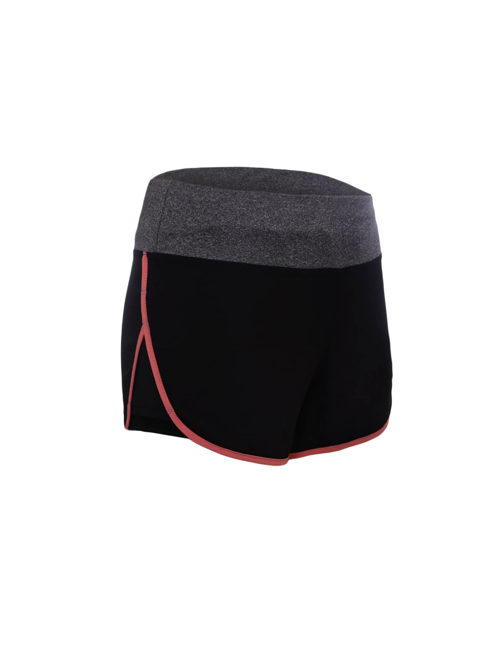 Coral Piping Trim Wide Waistband Gym Shorts